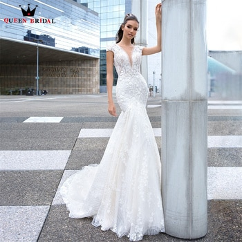 Luxury Mermaid Wedding Dresses V-neck Sequin Tulle Lace Beading Crystal Appliques Bridal Gown 2022 New Design Custom Made DS72