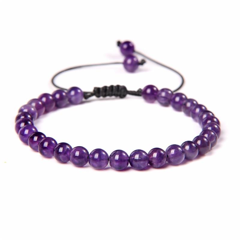 AliExpress - Natural Stone Amethysts 6MM Bead Bracelets For Women Men Braided Bracelet Lapis Lazuli Blue Purple Agates Meditation jewelry