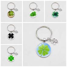 Porte-clé porte-bonheur, bijoux à la mode, en verre de trèfle, pour hommes et femmes, vente en gros