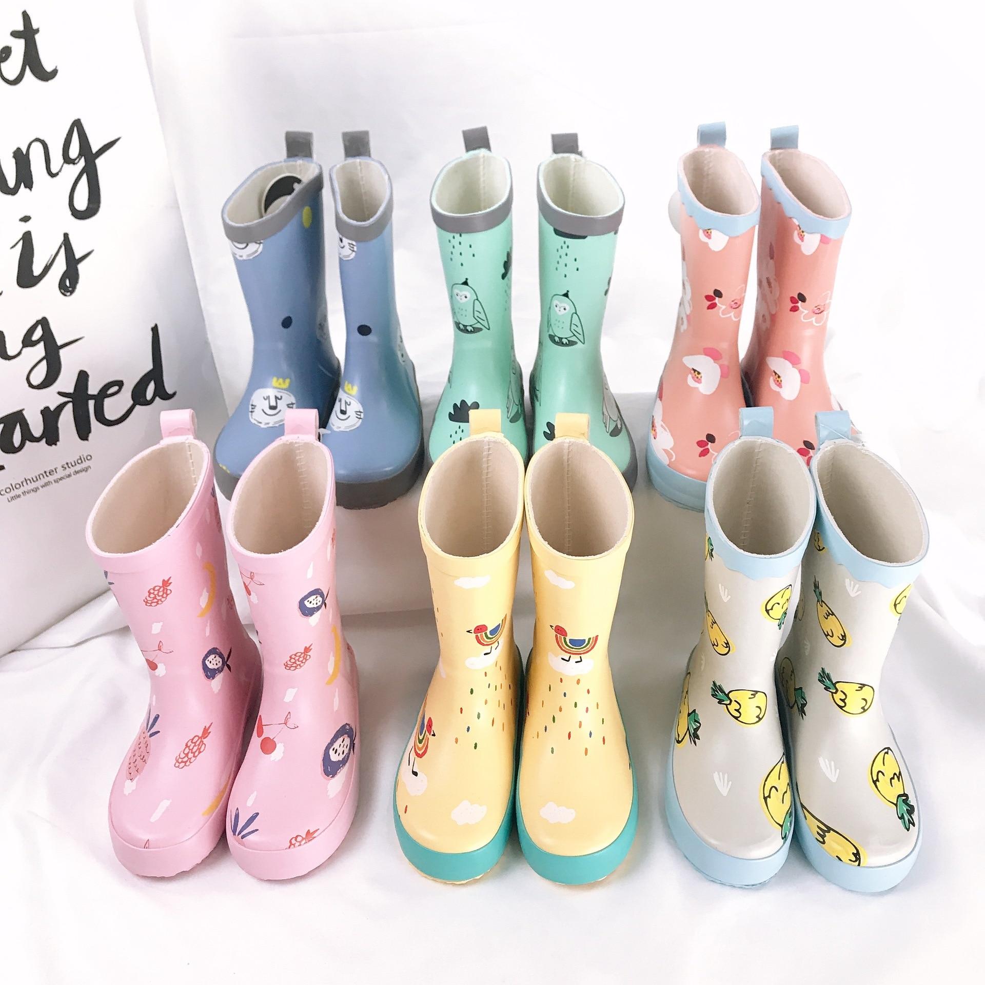 Rain shoes kids Girl Cute cartoon Printed Children's Rubber Boots Kalosze Dla Dzieci Waterproof Baby Water Shoes