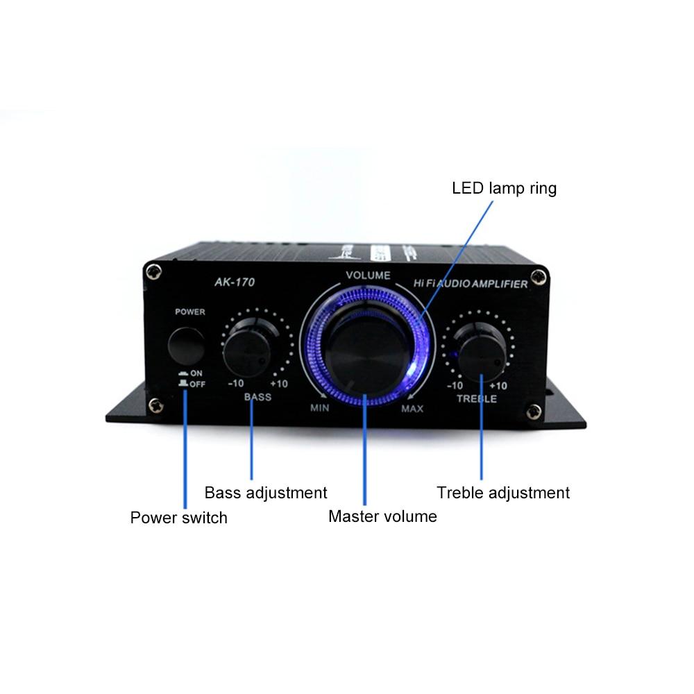 AK170 12V Mini Audio Power Amplifier Digital Audio Receiver AMP Dual Channel 20W+20W Bass Treble Volume Control for Car Home Use new smsl sa 36a pro 20w 2 hifi tpa3118d2 digital audio power amplifier free shipping