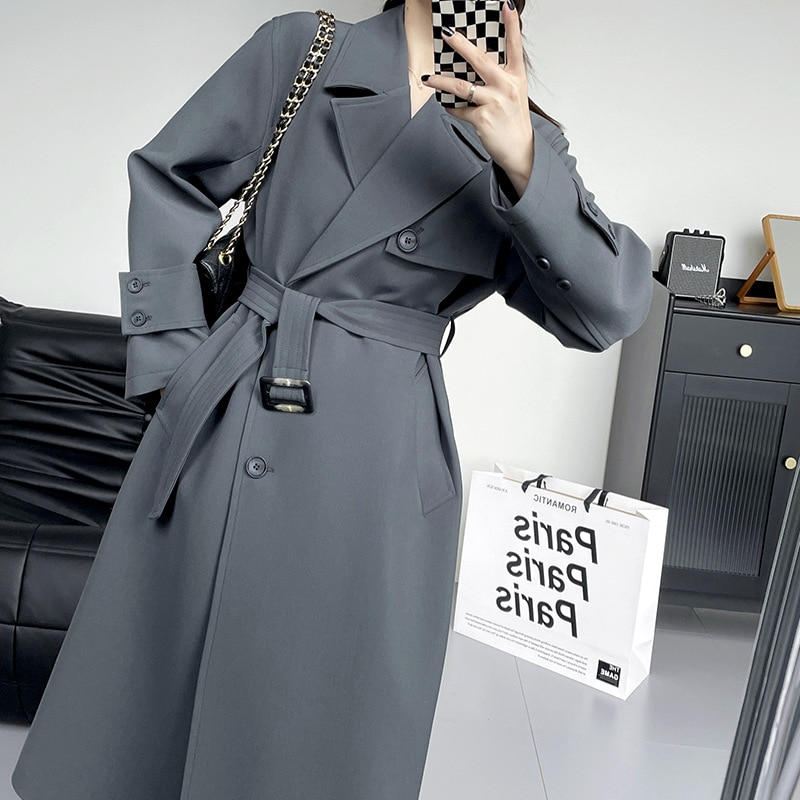 Women Coat Fashion Long Windbreaker Jackets Korean Style Female Autumn 2021 New Product Cardigan Designer All-Match Trench Coat becoming a product designer