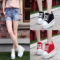 women sneakers fashion women height increasing breathable lace up wedges sneakers platform shoes canvas woman casual shoes 11cm