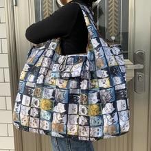 Bolso de mano de nailon grueso para mujer, bolsa de hombro plegable de poliéster, reutilizable, ecológico, de gran tamaño