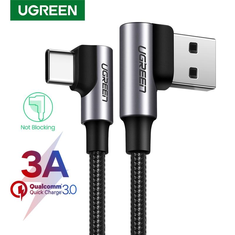 UGREEN-Cable cargador USB de nailon para teléfono móvil, dispositivo de carga rápida...