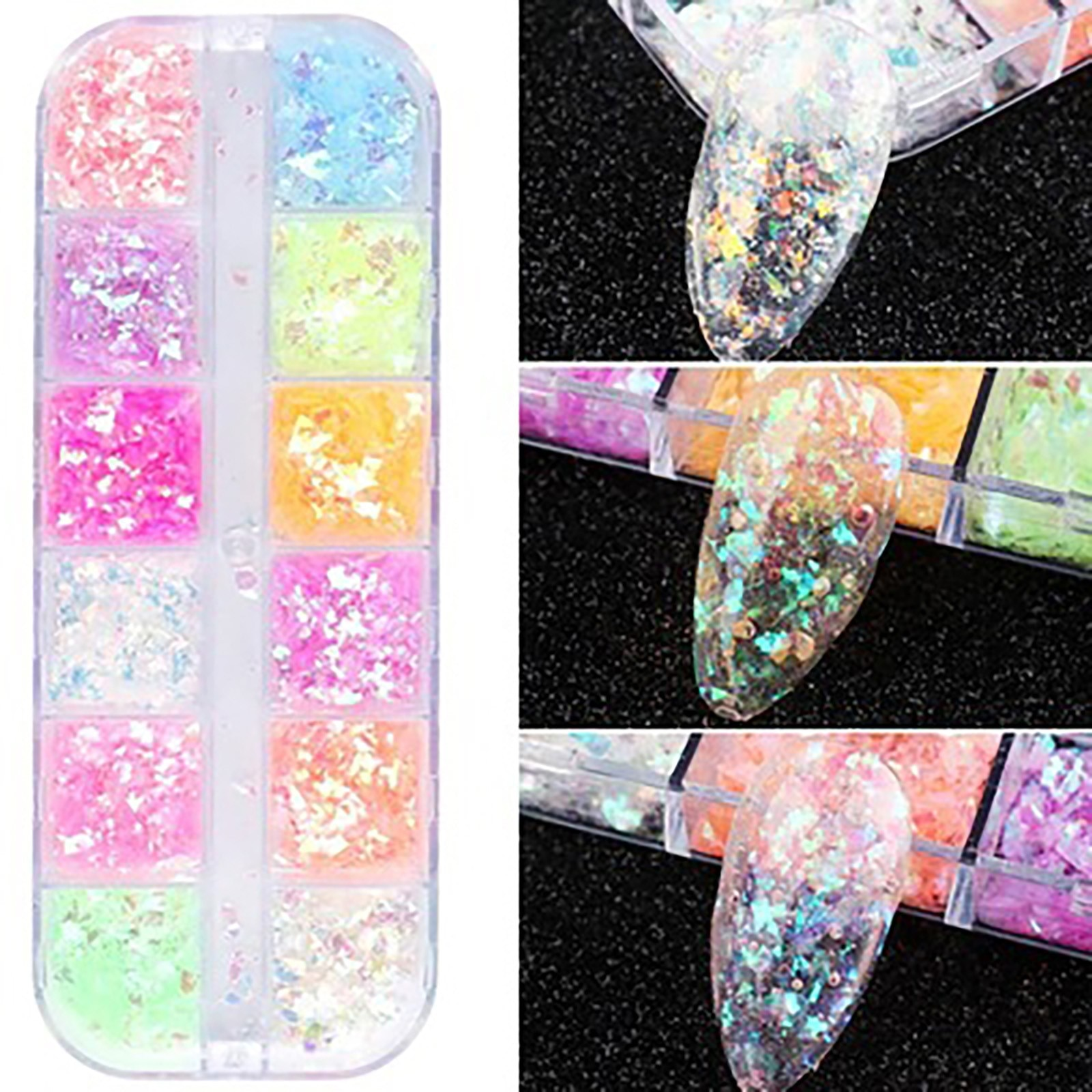 Full Beauty Mixed Hexagon 12 Color Nail Dust Sets Holo Glitter Sequins Flakes Manicure Decoration Na