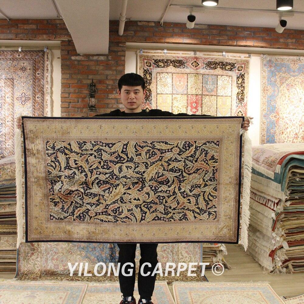 YILONG 3 x 5 персидский шелковый ковер цветочный ручной работы vantage изысканные турецкие шелковые коврики (ZQG215A)