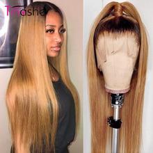 Perruque Lace Front Wig lisse brésilienne ombrée-Tinashe, cheveux naturels, cheveux Remy, couleur bourgogne 1B/27, 13x6