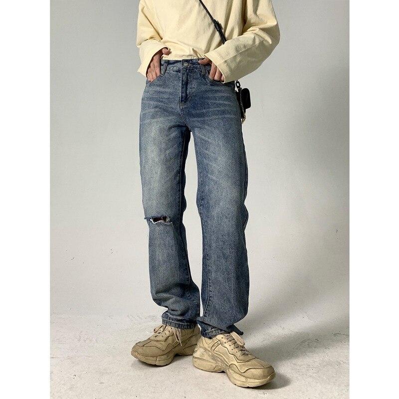 korean men nine points pants casual loose classic blue straight cowboy haren american baggy jeans wash biker denim trousers Knee Ripped Jeans for Men Korean Fashion Clothing Casual Baggy Jeans Straight Man Trousers Designer Hip Hop Jeans Blue Denim