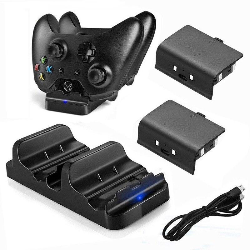 Carregador rápido para xbox um controlador de carregamento duplo doca carregador + 2pcs baterias recarregáveis para xbox um s x controlador sem fio
