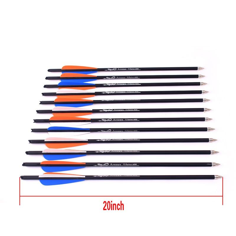 Стрелы для лука 6 шт., 16/20 дюйма, с оранжевыми, белыми, синими перьями, жесткость стержня 400, для арбалетов, карбоновые стрелы для стрельбы из лу...