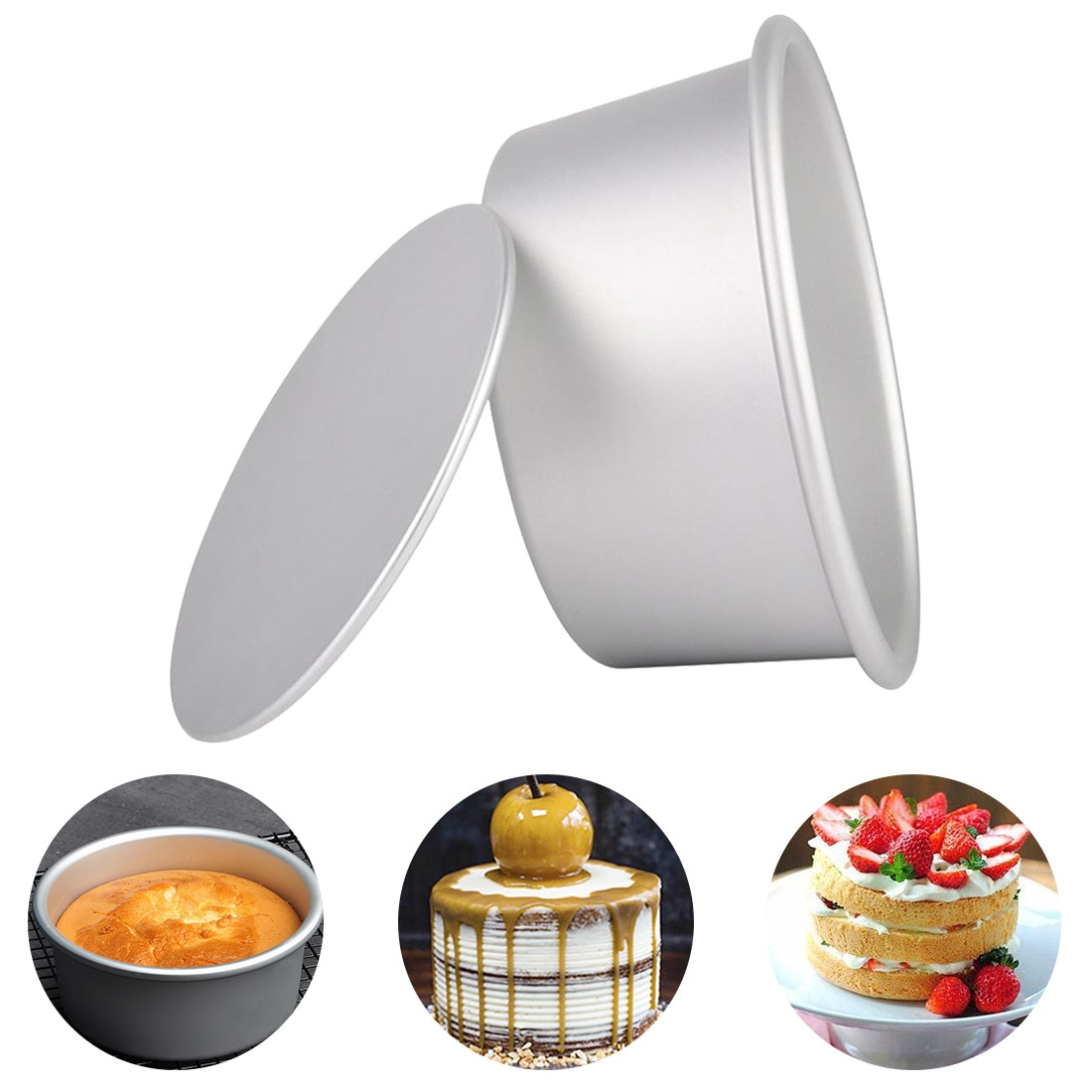 Кухонный инструмент для торта 2/4/5/6/7/8/9 дюйма круглый алюминиевый сплав формы для выпечки торта Форма для выпечки сковорода форма для пудинга
