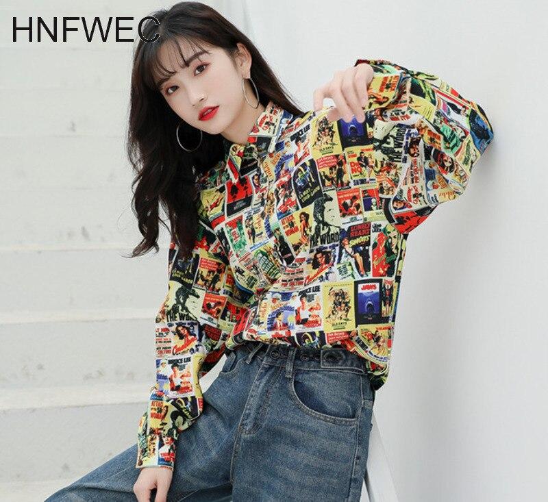 Moda de Corea blusas de mujer 2020 camisa de manga larga con estampado suelta Vintage Top primavera camisa de periódico ropa V215