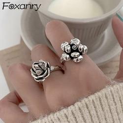 Foxanry vintage punk 925 prata esterlina doce flor anéis jóias finas para as mulheres nova moda criativa festa acessórios