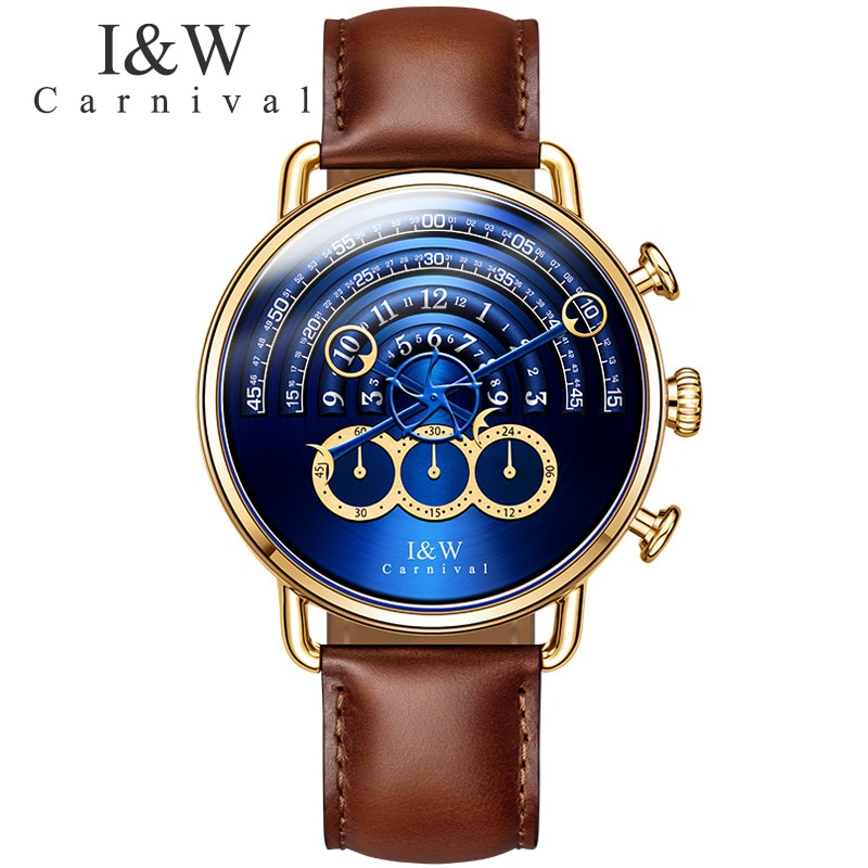 CARNIVAL Brand Fashion Watch Man Women Luxury Waterproof Gold Silver Chronograph Sport Quartz Wristwatch Clock Relogio Masculino