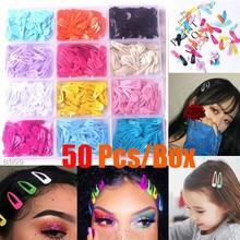 Mini pince à cheveux princesse pour filles   50 pièces/lot de 3cm, joli Clip de bébé couleur bonbon, accessoires de cheveux pour filles