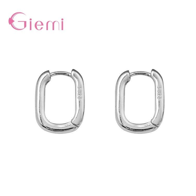 Simple Square Bright Matte Solid 925 Sterling Silver Hoop Earrings Thick Oval Geometric Minimalist Jewelry