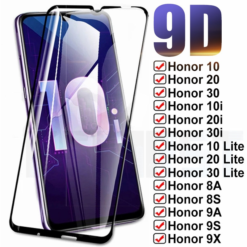 9D Full Protection Glass For Huawei Honor 10 20 30 Lite 10i 20i 30i 8X 8A 8S 9X 9A 9S 9C Tempered Screen Protective Safety Glass