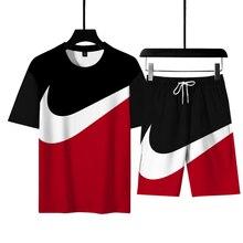 Mens 3D digital print color matching men's set summer thin T-shirt + shorts two piece casual sports
