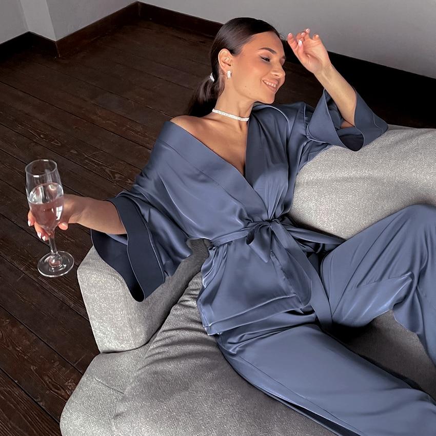 HiLoc Home Suit For Women Sleepwear Loose Flare Pants Three Quarter Sleeve Satin Robe Sets Bathrobe For Home Wear Fashion 2021
