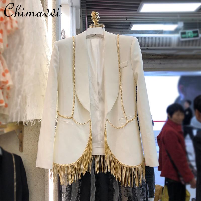 2021 Spring Suit Women Korean-Style Fashion Metal Chain Tassel Ol Blazer Suit Etiquette Host Performance Wear Slim Jacket Coats