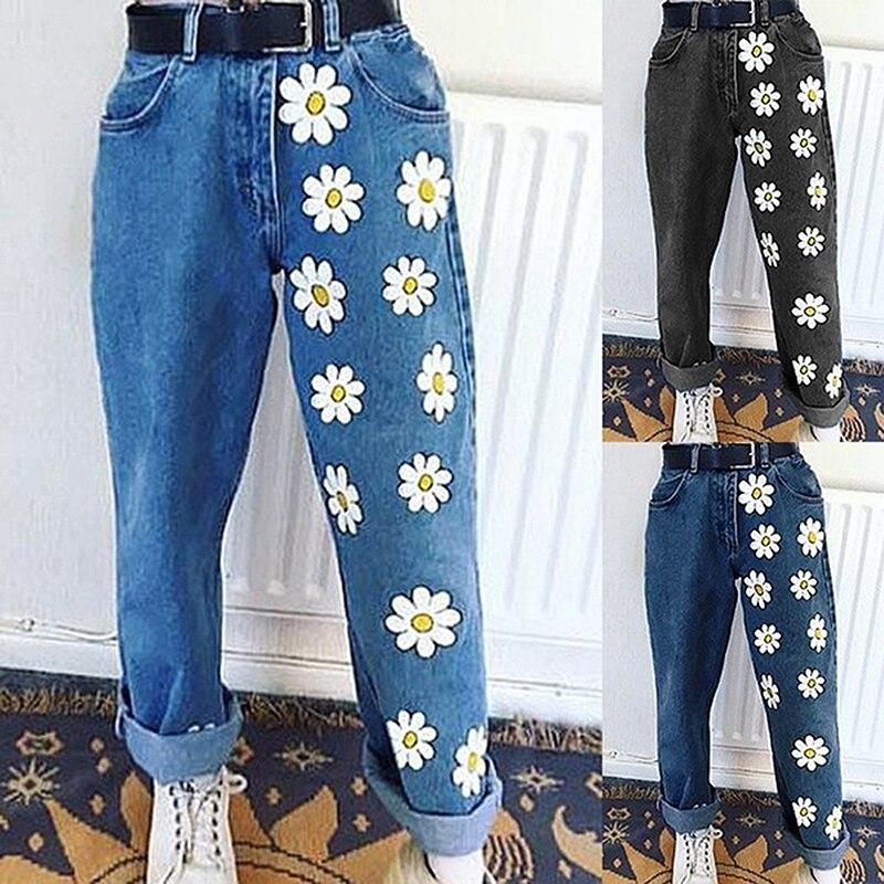 2021 New Flowers Fresh and Blue Denim Womens Solid Y2k Jeans European American Indie Printed Thin Casual Pants