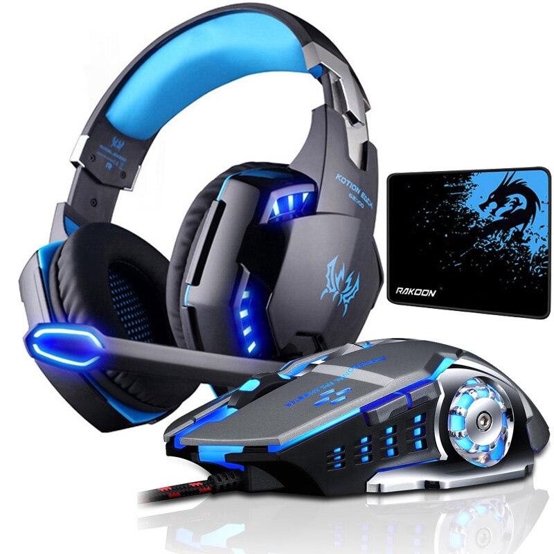 سماعات رأس لألعاب الفيديو-KOTION EACH., سماعات ذات صوت ستاريو عميق ، تحتوي على مايكروفون و ضوء LED ، للعبة بلايستاشن 4 ، و حاسوب محمول ، و فأرة ألعاب.
