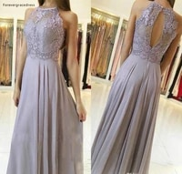 2019 silver lace bridesmaid dress halter neck chiffon country garden formal wedding party guest maid of honor gown plus size