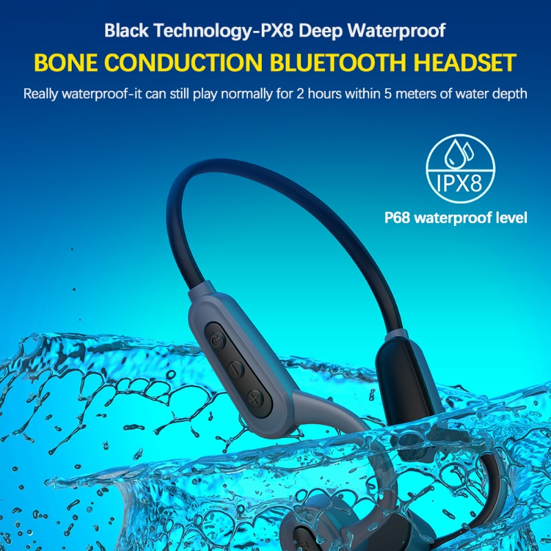 IWO PRO K8 Bone Conduction Earphones Outdoor Sports Waterproof Wireless Bluetooth Earbuds With Micophone MP3 Player For Running enlarge