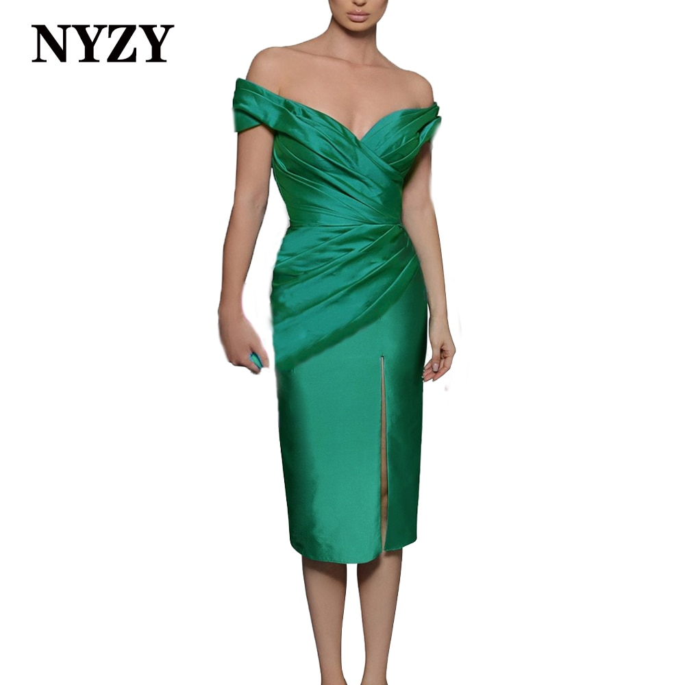 C332 NYZY الساتان قبالة الكتف فتحة عالية الأخضر فساتين لحفلات الكوكتيل 2021 فستان قصير للحفلات الراقصة لحفلات التخرج العودة إلى الوطن
