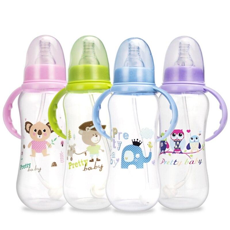 150/280ml Baby Handle Bottle PP Plastic Anti Colic Drink Baby Bottles Newborn Feeding Feeder for Infant BPA Free Milk Bottles