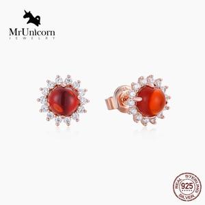 MrUnicorn S925 Silver Fashion sunflower ear stud lady noble gemstone series sterling silver earrings birthday gift