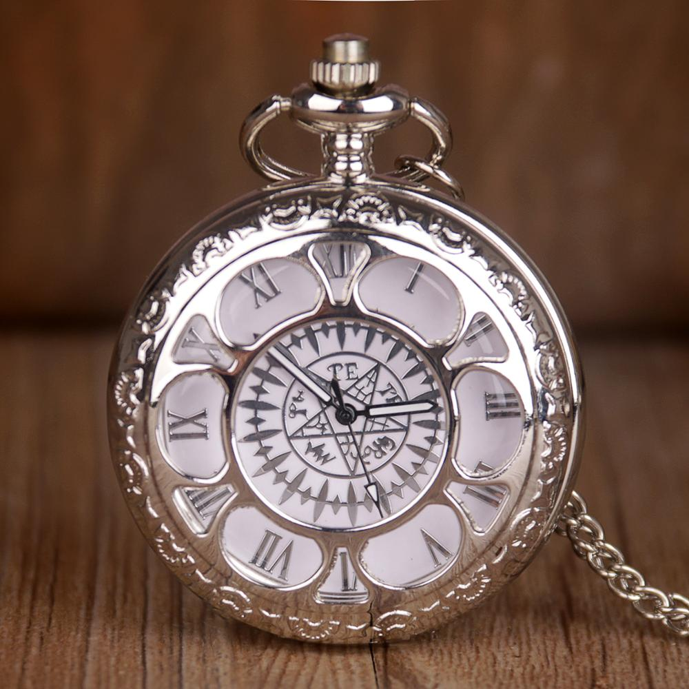 Nuevo reloj de bolsillo de cuarzo Kuroshitsuji negro de moda con colgante analógico para hombre y mujer CF1031
