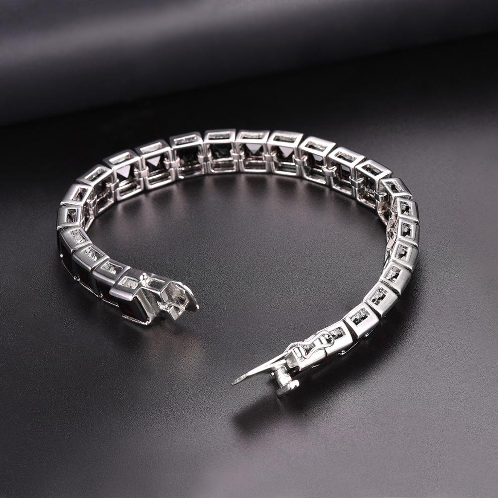 Hutang 47.5ct Black Garnet 925 Silver Bracelet 7.5 Inches Genuine Gemstone Sterling Silver Fine Elegant Jewelry for Women Gifts