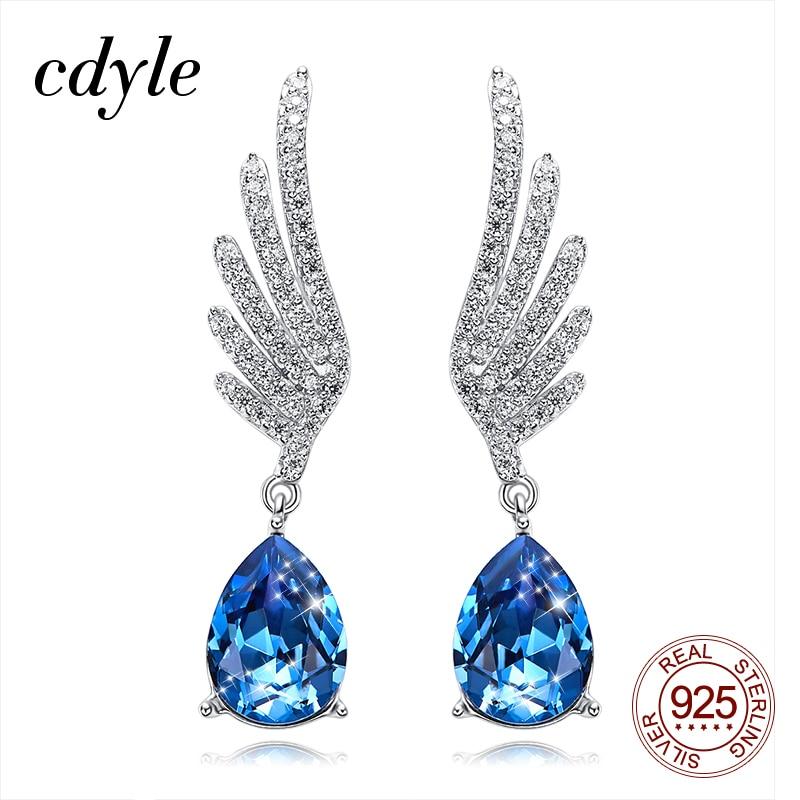 Cdyle Silver 925 Fine Jewelry Angel Wing Dangle Earrings with Blue Angel Teardrop Crystal for Bridal Wedding Ear Accessories