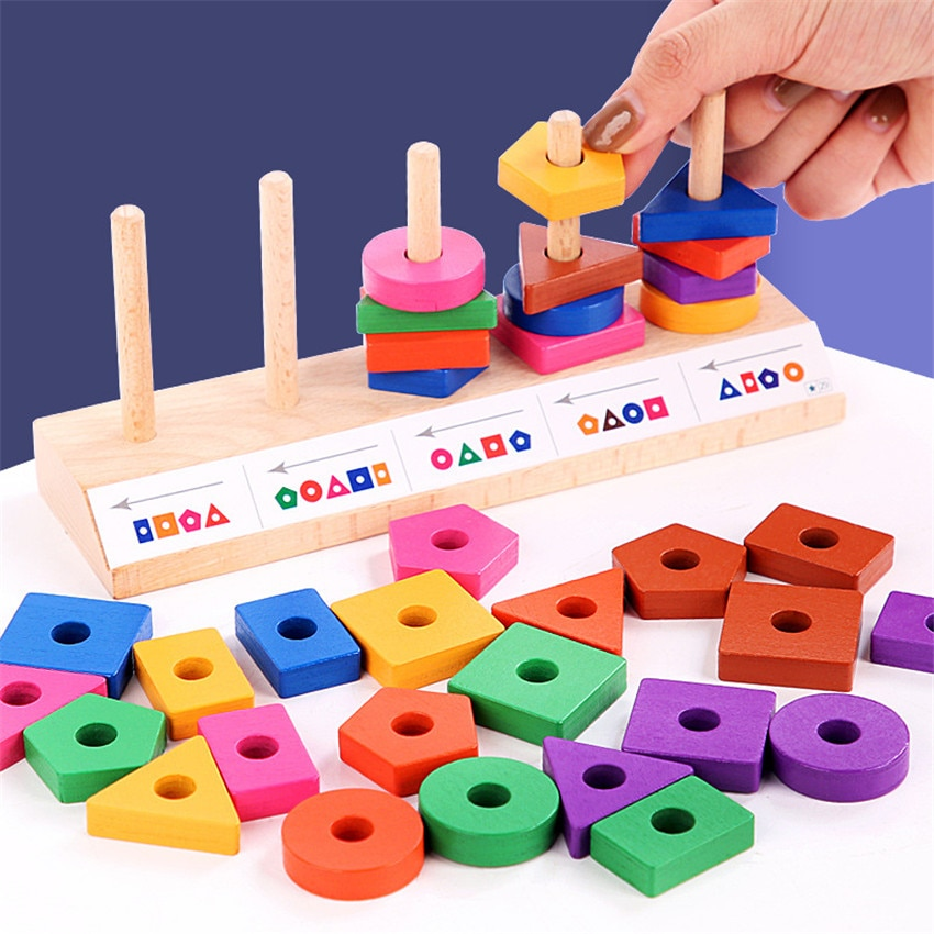children s building blocks toys 1 3 years old baby shape matching wooden Wooden Baby Montessori Building Blocks Colorful Geometric Shape Matching Game Toys for Children Educational Wood Puzzles Gifts