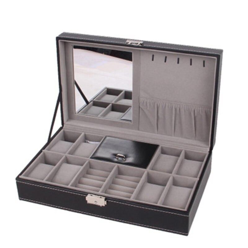 Caixa de Relógio com Caixa de Jóias Preta Moda Casa Couro 8 Grades Titular Wt-61 Cor