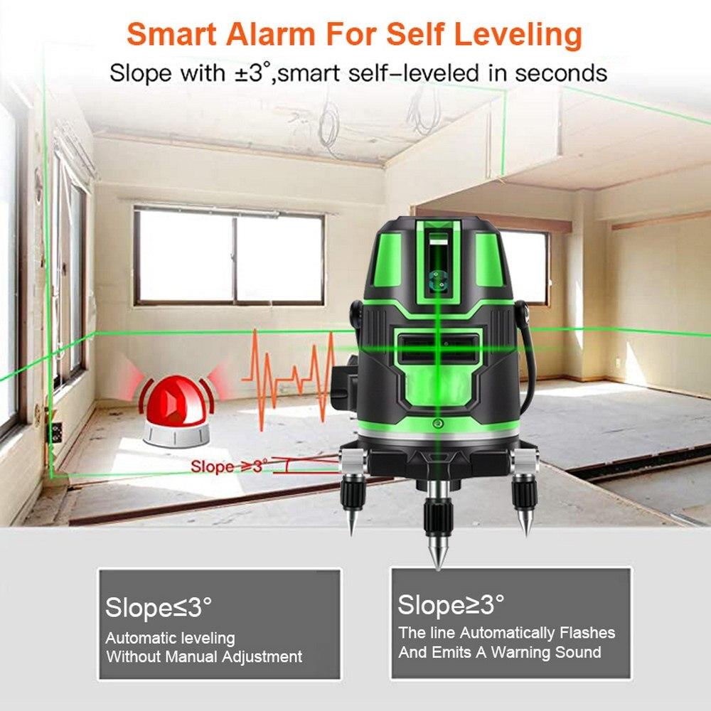 أداة قياس مستوى الليزر 360 درجة باللون الأخضر 2/3/5 خطوط 532 نانومتر الضوء الأخضر الأفقي العمودي عبر خط التسوية الذاتية