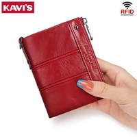 kavis 2021 fashion womens wallet small mini perse red high quality short card holder female purse coin holder wallets for girls