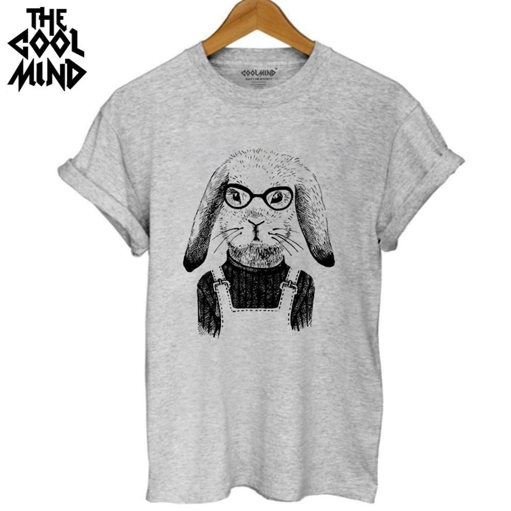 COOLMIND WQ0102B Summer Women Ladies 100% Cotton T shirt Summer Fashion Funny Rabbit Printing Short sleeve Tshirt