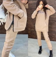 Winter Two Pieces Tracksuit Womens Warm Oversized Sweatshirt Hoodies Chandal Ropa De Mujer Sports Jogging Suits Female Sets