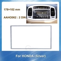 178%c3%97102mm car radio fascia frame for honda 2din silver dash mount kit adapter trim facia panel frame dashboard