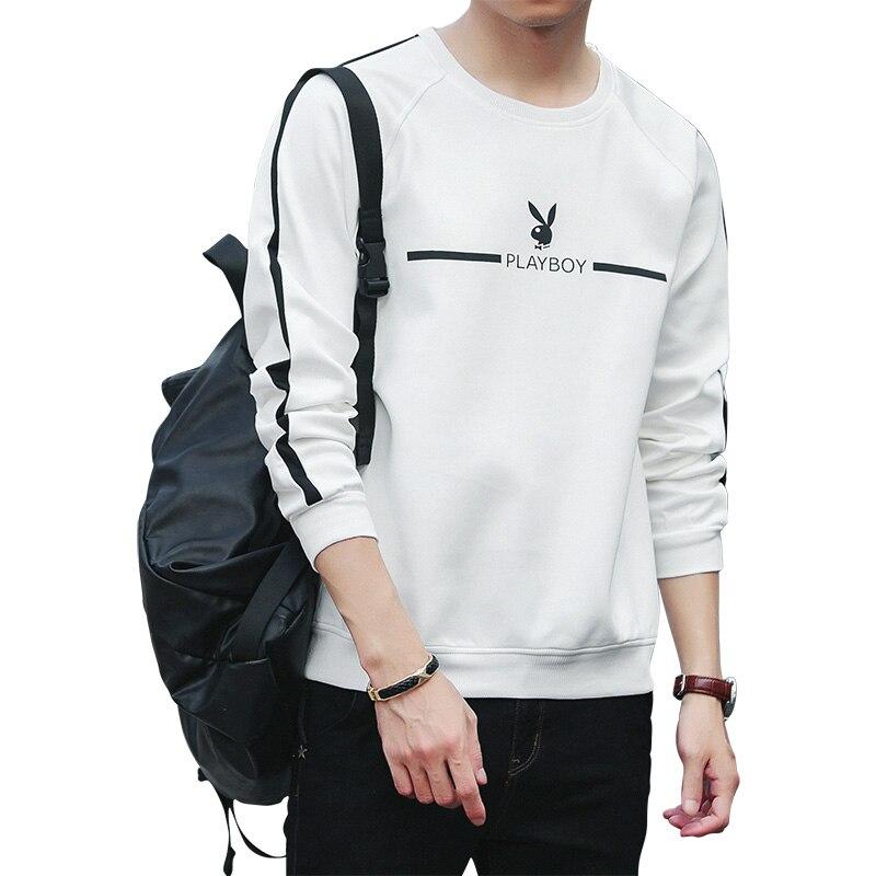 Playboy novo masculino retalhos manga longa pulôver crewneck outono camisolas masculinas confortáveis preto branco