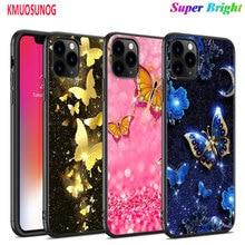 Funda negra de silicona mariposa mandala de flores para iPhone 11 11Pro XS MAX XR X 8 7 6S 6 Plus 5S funda de teléfono brillante