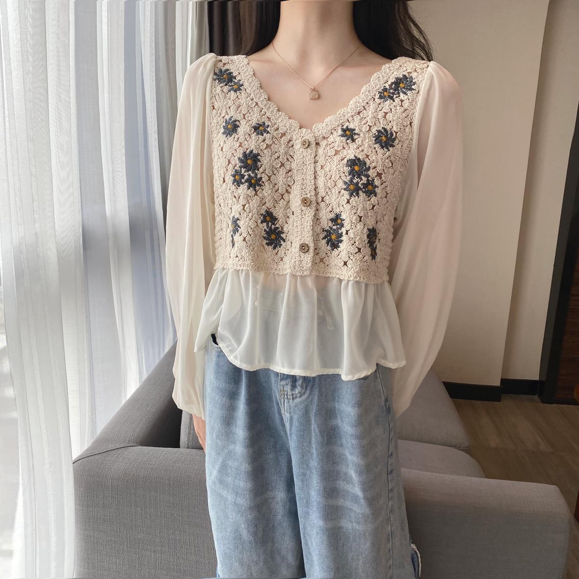 Sexy Hollow Out Blouse Women Spring Fall Elegant V-Neck Female Ins Korean Flower Patchwork Chiffon Knitted Shirts Tops 2021 New