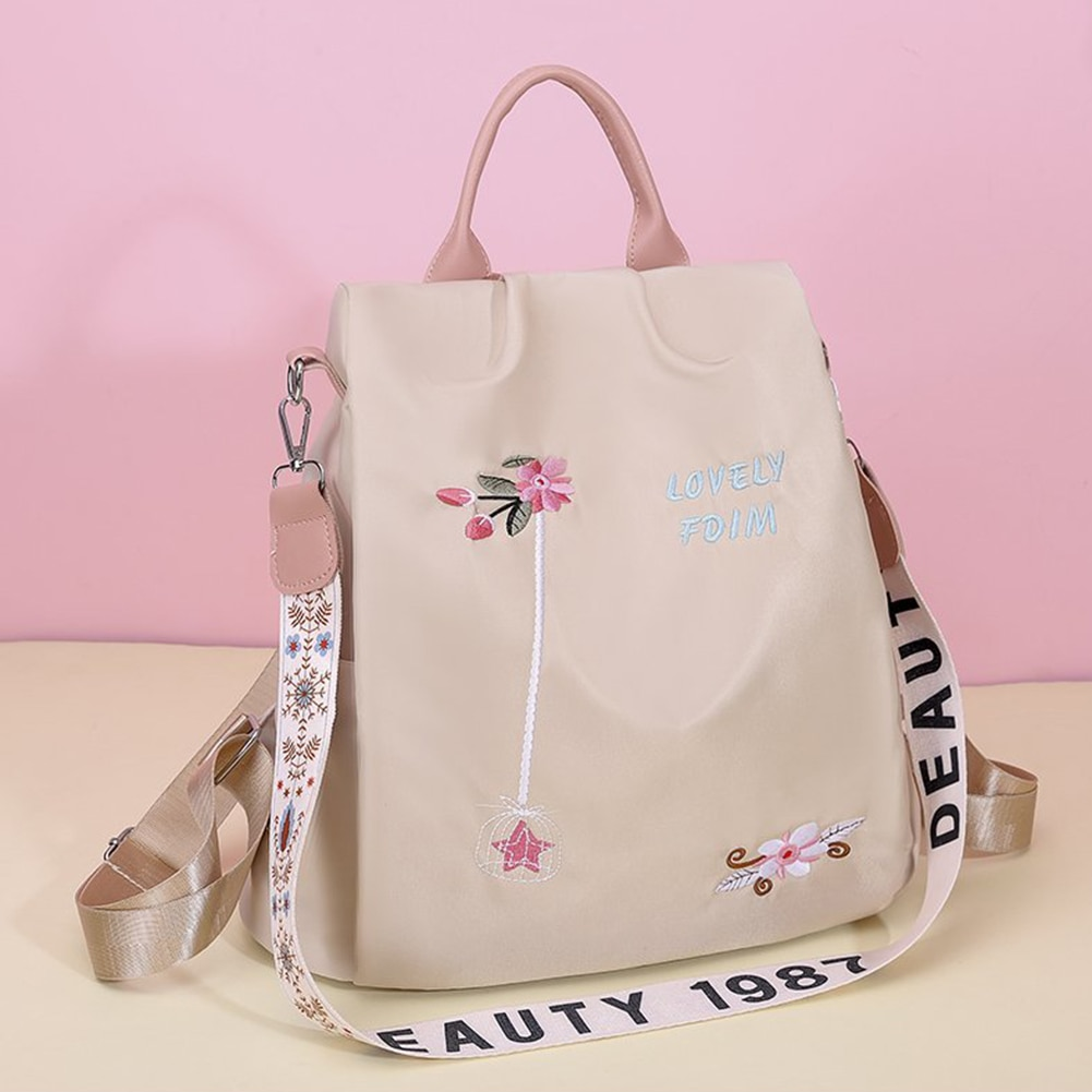 Casual Oxford Cloth Women Backpack Flower Embroidered Female Shoulder School Book Bags Daily Travel Anti-theft Bagpack Rucksack fashion floral gray school bag water resistant women backpack flower female school rucksack girls daily college laptop bagpack