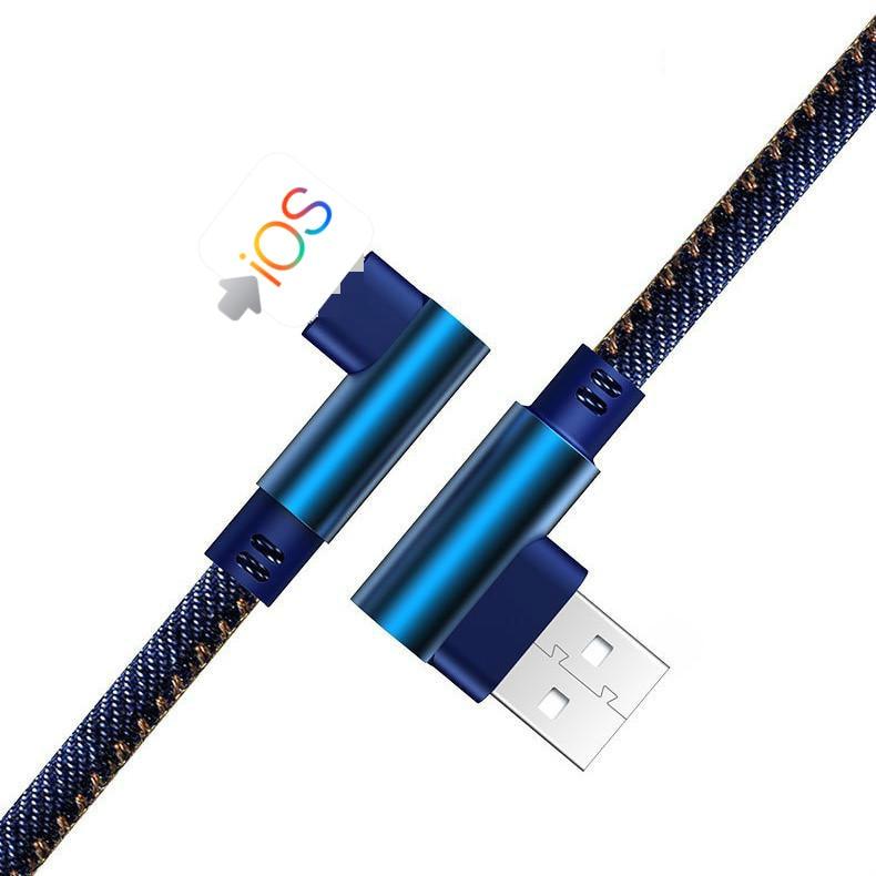 Cable de datos de teléfono de doble codo, cable de alimentación vaquero para Android iphone tipo c, línea de carga usb de carga rápida