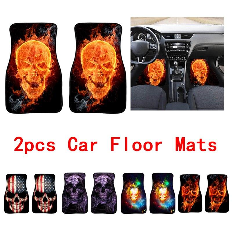 2PCS Skull Car Foot Cover Universal Auto Skull Printed Floor Mats Case Neoprene Car Decoration Protector Mat Pad Accessories
