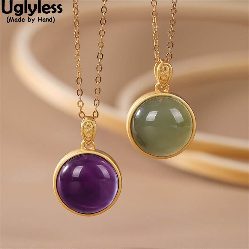 Uglyless minimalista perfeito redondo jade esmeralda pingentes para as mulheres nobre roxo colar de cristal 925 prata vestido simples jóias