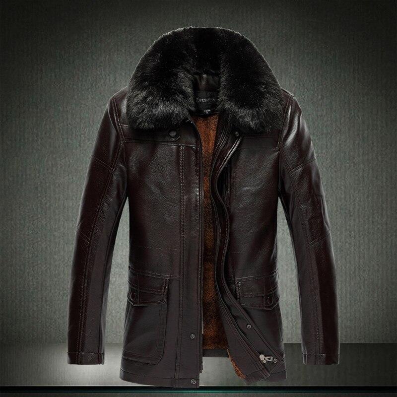 الرجال الشتاء الفراء طوق سترات زائد المخملية الصوف سترة جلدية الدفء سميكة أنيق مان معطف كبير الحجم 6xl 5xl 7XL 1203